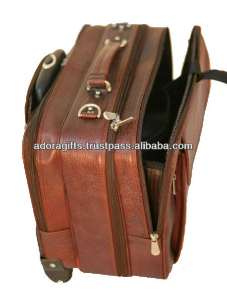 ADATB - 0009 Genuine leather traveling bags / 2 wheels trolley luggage travel bags / fashionable duffel bag with trolley