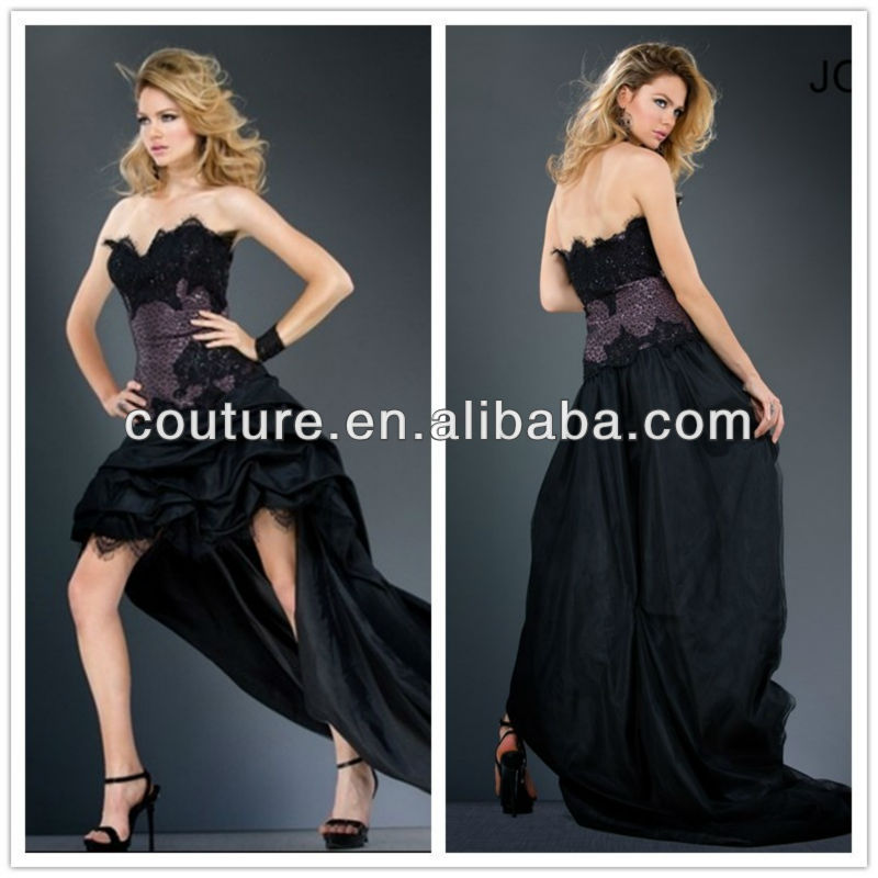 Best Selling Popular Designs Sweetheart Sequined Black Short Front Long Back Long Tail Chiffon Cocktail Dress 2014 XT-055