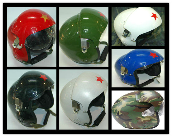 Green military flying safety helmet