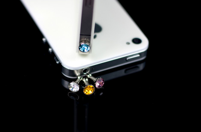 30PCS/Lot Earphone Jack Plug Cystal Luxury Phone Accessories Small Diamond Rhinestone 3.5mm Dust Plug For iPhone For iPhone 6