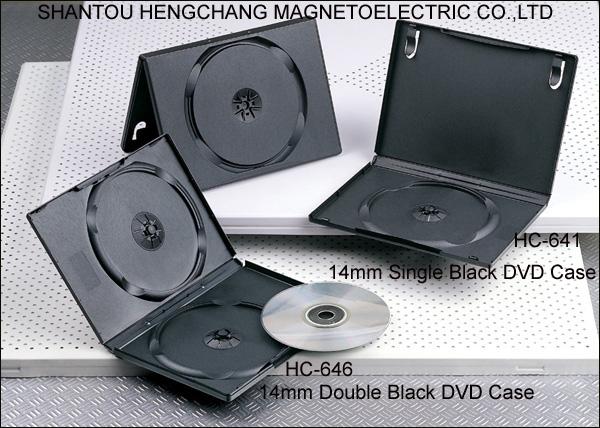 black 14mm single or double 2dis hard plastic cd dvd case
