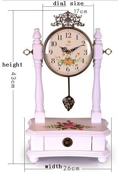 Antique Solid Wood Table Clock Fashionable Desktop Clock