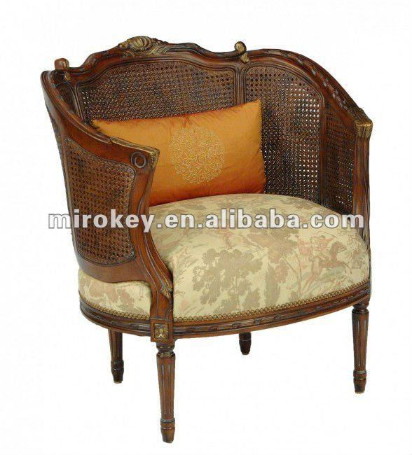Antique cane rocking chair - Louis Xvi Cana Banheira Antiga Poltrona De Madeira Feito Por Tecido