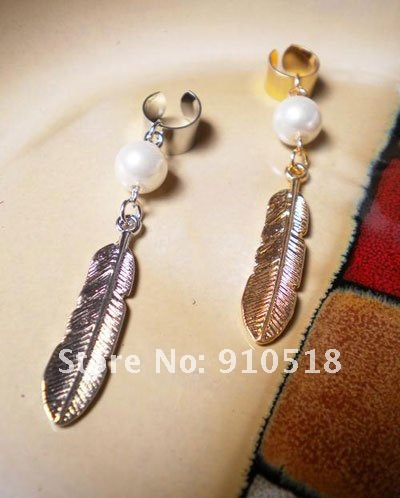 NEWEST Gold & Silver Color Pearl Leaf Shape Clip Earrings Ear Clip Free Shipping,M1216