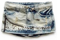 Женские джинсы 2012 Rivets Ornament Denim Two Color Pantskirt/Short pants