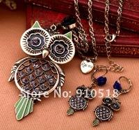 Ювелирный набор Popular Rhinestone Vintage Owl Jewelry Set Necklace + Drop Earrings, S2009