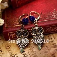 Popular Rhinestone Vintage Owl Jewelry Set Necklace + Drop Earrings Free Shipping, S2009