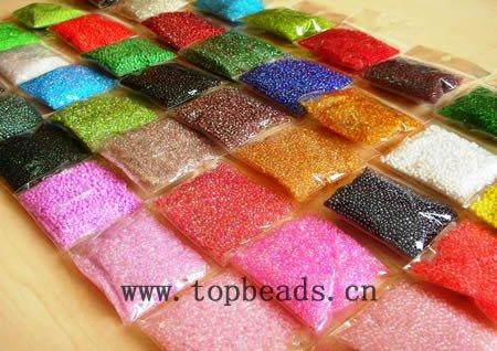 оптовые для ювелирных изделий решений стекла бисер, разные цвета, серебряная линия бисер, 100g/bag...