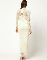 новые женские хорошее качество кружева воротником с длинным рукавом кружевном платье