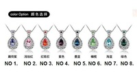 Цепочка с подвеской 7 colors Christmas holiday sale Vintage White Gold Plated Crystal Crystal necklace pendants jewelry 4191