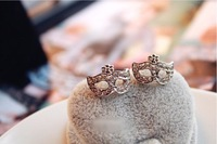 Min. Order is 10 USD ( Can mix order)! Punk Full of Drill Mask with Floral Hollow Rings.  RG157001