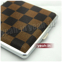 10 pcs Black & Brown check Leather Cigarette Box Case Holder 20 pcs kingsize CC328-1