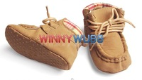 Baby Boy's Light Brown Color Soft Sole Lace-up Prewalker Baby Shoes Boy's Shoes Boy's Prewalker