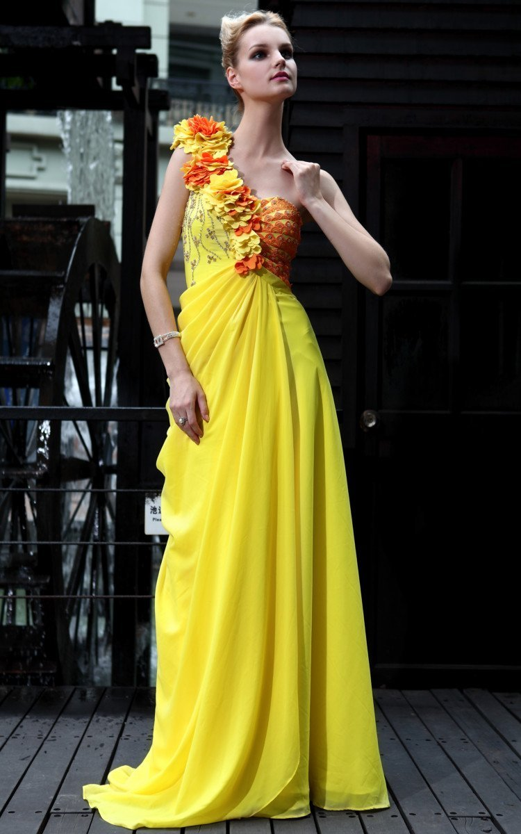 Free Shipping 2012 Latest Chiffon One Shoulder Appliques Beaded Ruffle Yellow Long Ladies' Night Dresses 30548 (4).jpg
