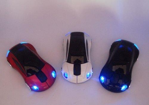 30pcs/lot # USB Car Shape Wireless Optical Mouse 10M 2 Blue Mice Free Shipping