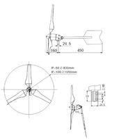 небольшой ветряк-генератор 50w используется для дома. CE, rohs, iso9001 одобрил ветряк + Ветер/Солнечный гибридный контроллер