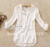новые длинные удобной хлопок рубашки /women случайный рубашки, мода блуза 3 цвета