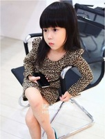 Платье для девочек 5pcs/lot baby fashion leopard dress girls long sleeve cotton dress spring autumn clothing