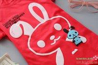 E14 100% чистого хлопка футболку, синий женщин в корейском стиле кролика печати моды короткий рукав рубашки тонкий, Повседневная рубашка