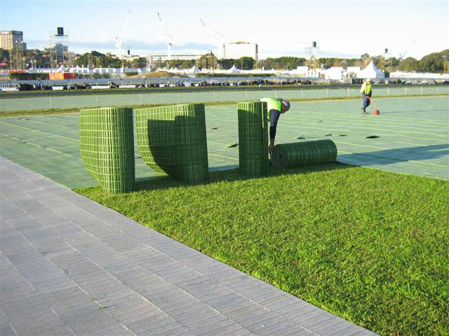 Ground artificial landscaping turf plastic