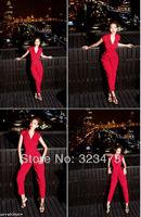 свободный/падение судоходство осенние Комбинезоны тонкий женщин Великобритании Мода дамы в целом комбинезон плюс размеров женщина комбинезон черный/красный/синий