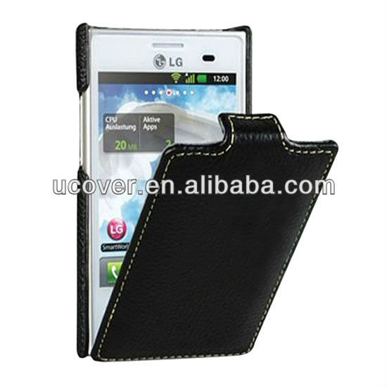 Luxury leather flip case for lg optimus l3 e400
