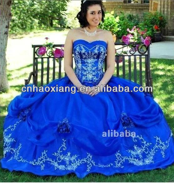 sweethear appliqued vestido de bola azul zafiro vestidos de novia    Sapphire Blue Ball Gowns