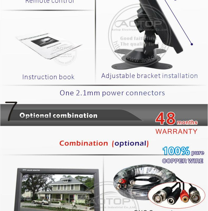 2013新しいスタイル!!!!! 7インチモニターcctvbncコネクタ付き、 rcaオーディオ入力、 調節可能なブラケットインストール、 24ヶ月保証仕入れ・メーカー・工場