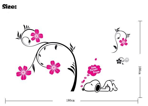 funlife] Snoopy & Flowers 50x70cm Kids room Art Mural Decal Wall ...