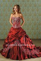 сладкий еще прохладно мяч Красная атласная вышивка Беаде беременных Свадебные платья