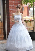 Свадебное платье 2012 high quality wedding dress floor length bridal dress sweep brush train sleeveless strapless bow flower 081