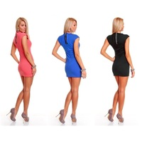 Одежда и Аксессуары 2 colors Black red blue! Seductive mini party dress for women zipper Fashion Adult clubbing wear Sexy fancy dress MN81