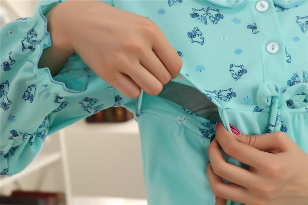 Пижама для беременных New Fashion Spring and Autumn Long sleeve cotton maternity dress Mum Wear coat trousers Suit Lovely Cat Pajamas