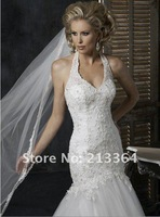 Free shipping Tulle+Lace+Beaded Sexy V Mermaid temperament Wedding Dresses any size/colour wholesale/retail