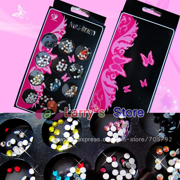 2012 New Arrivial Packing Mix Color Nail Art Shiny Gems cute 3D Decorations Dot Resin Flatback Beads Sticker+Box Free Shipping