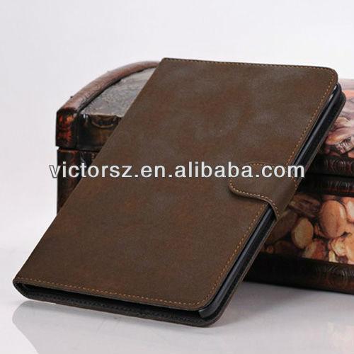 For iPad Mini Case Protective,Brown Retro PU Case Protector for ipad mini