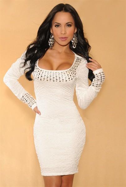 Женское платье dress fashion White Pleated Studded Long Sleeves Dress autumn dress winter dress women winter dress SYY0351