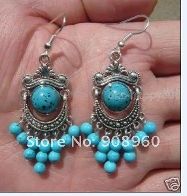 Wholesale  tibet silver Round blue Jade earring 20pc/lot fashion jewelry #08