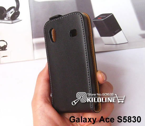 Genuine Leather Case Cover For Samsung Galaxy Ace S5830 -Free Shipping