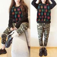 женщины свободно теплый пуловер цвета листьев оленей печати хип-хоп sweatershirt