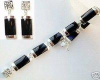 Черный нефрит серьги браслет задает набор красивых ювелирных изделий