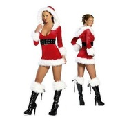Праздничное платье Woman's Velour Christmas Xmas Game Cosplay Costume Hoddie Slim Dress Suit With Belt Santa Hat