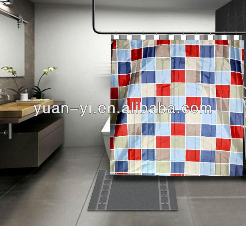Moderne bloc conception rideau de douche en gros - Rideau de douche tissu impermeable ...