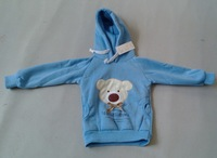 bear hoodies B2W2 bear head bowtie sweater pink and blue cartoon sweater kids wear, 0023