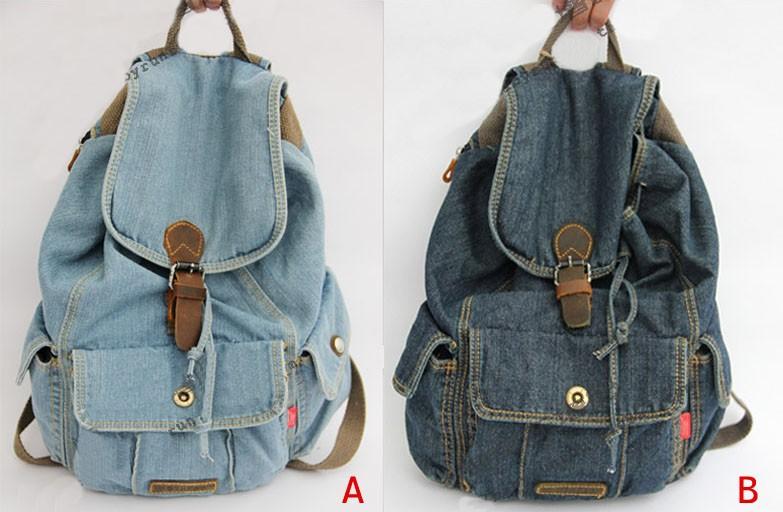 Source New Women Girls Retro Jeans Backpack School Travel Sling Drawstring denim Bag soft backpack on m.alibaba.com