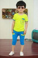 Комплект одежды для девочек boys suits letters sleeve pocket stitching summer models cotton leisure suit children' clothing girls baby kids set