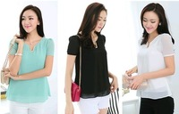 S-3XL available~2014 spring new slim plus size cool chiffon women blouse fashion o-neck short-sleeve with sequined tops of women
