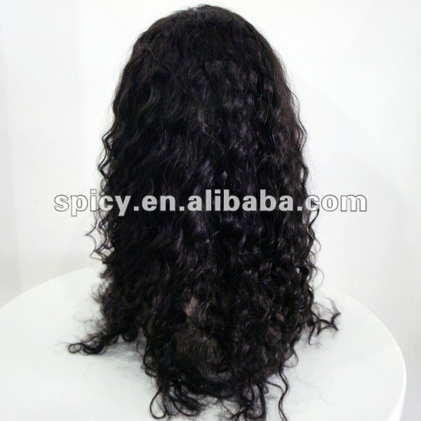 Glueless full lace wig deep wave natural black 100% Brazilian virgin hair with baby hair