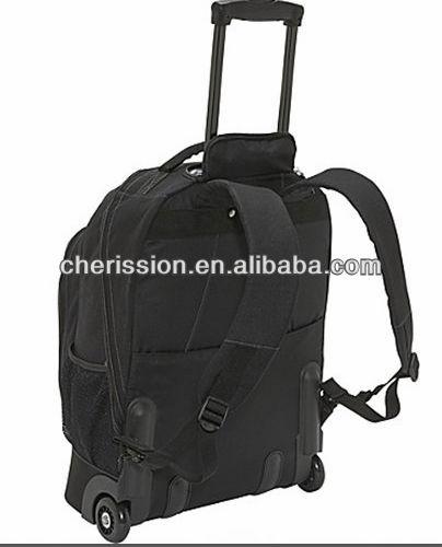 Black travel trolley laptop backpack bag