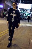 East Knitting CR-001 Fashion Womans clothes Cross print tops Women Pullovers london boy sweatshirts Black free shipping